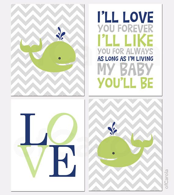 Whale Boys Nursery PRINT SET Four Prints - Animals Chevron Quote Wall Art, I'll Love You Forever - Navy Blue Lime Green White - 8x10 inch