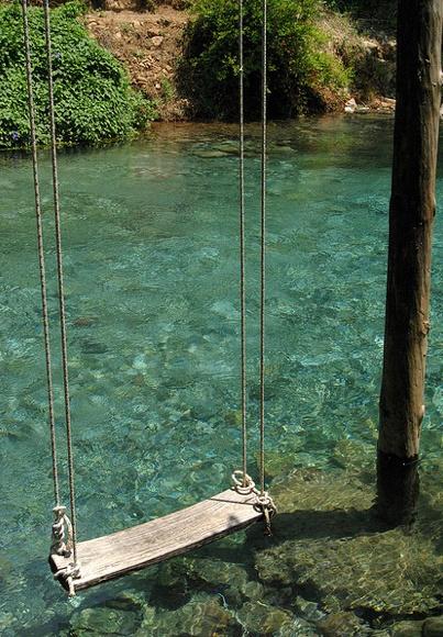 Swing + water = HEAVEN