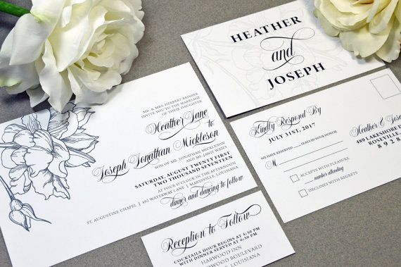 Formal Floral Wedding Invitations White and Black Wedding Pocket Invite Modern Wedding Invitation Suite Calligraphy Wedding Invites Elegant by RunkPockDesigns