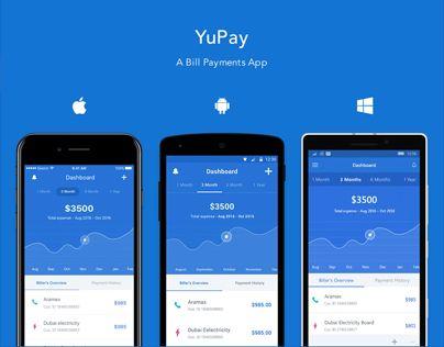 """다음 @Behance 프로젝트 확인: """"YuPay – A Bill Payments App"""" https://www.behance.net/gallery/44784317/YuPay-A-Bill-Payments-App"""