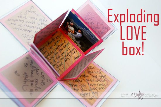 Not wanting to just use a traditional store-bought card for the next big event? Create your own exploding love box and fill the 24+ flaps with pictures and personalized messages for your sweetheart! www.TheDatingDivas.com #lovenote #homemadecard #DIYgift