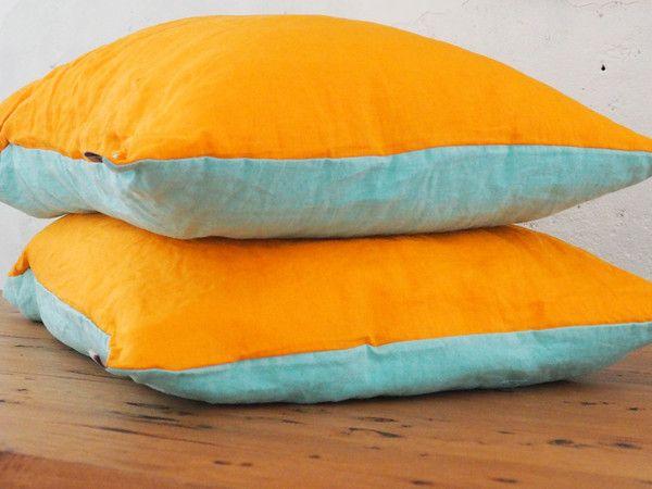 Tangerine + Aqua Pillowcases - 100% French flax linen
