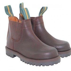 Modelo 171, Valverde del Camino, Media bota de niño, piel de becerro, color castaña, cremallera, piso goma