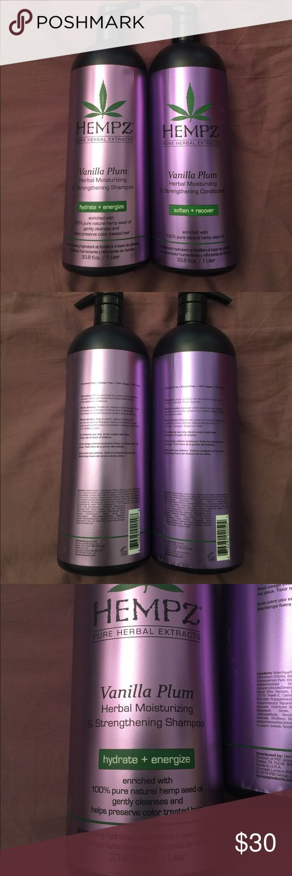 Hempz Vanilla Plum Shampoo & Conditioner Liter Duo Brand new Hempz Vanilla Plum Herbal Moisturizing and Strengthening Shampoo and Conditioner liters!  This formula is enriched with 100% pure natural hemp seed oil to gently cleanse and preserve color treated hair!! Retails for $26.99 each! Hempz Other