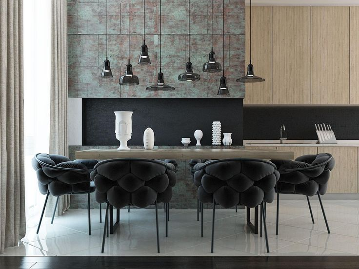 Shapely pendant lights over the dining table are from the Shadows collection by Dan Yeffet and Lucie Koldova.