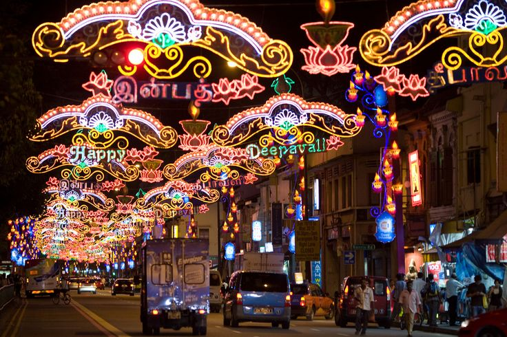 Happy Deepavali festival Lights, Little India, Singapore by David Sifry – Flickr. (Licensed under CC BY 2.0 via Commons)   http://desi-stylebook.com/2015/11/diwali-around-the-world/