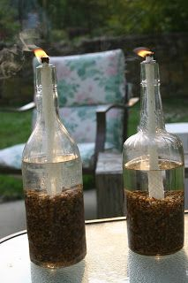 Wine Bottle Tiki Torches or you can use citronella oil to repel mosquitoes-the easiest instructions I found so far