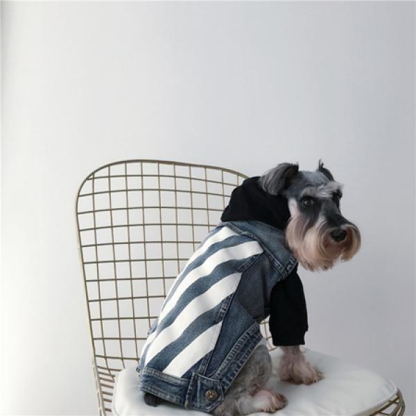 ブランド オフホワイトペット犬服 デニムベスト Off White 犬用 猫用レジャー風デニムジャケット ペット服 犬 ペット 犬