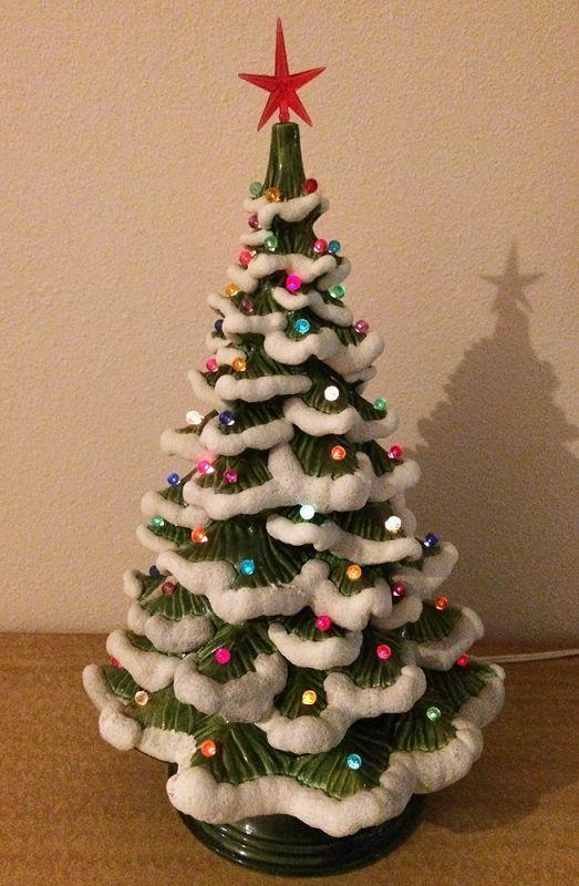 1970s Vintage Atlantic Mold Ceramic Light Up Snow Flocked Christmas Tree  Lamp, Made in the USA . . . Wonderful vintage 17