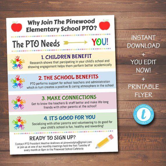 EDITABLE PTO PTA Recruitment Flyer, Printable Handout, School Fundraiser Event, Why Volunteer Handout Template, Newsletter, Instant Download