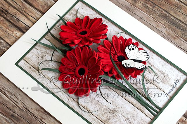 Panels with Quilled Gerbera Flowers and a White Butterfly - Quilling by ManuK (Manuela Koosch)