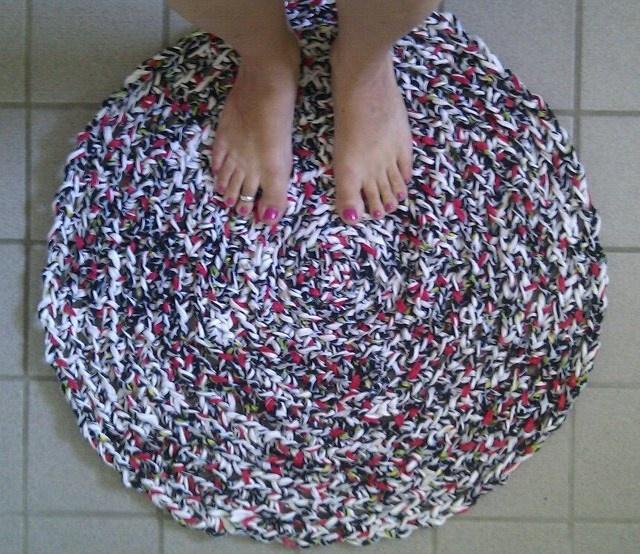 Barthroom carpet, crochet in Zpagetti