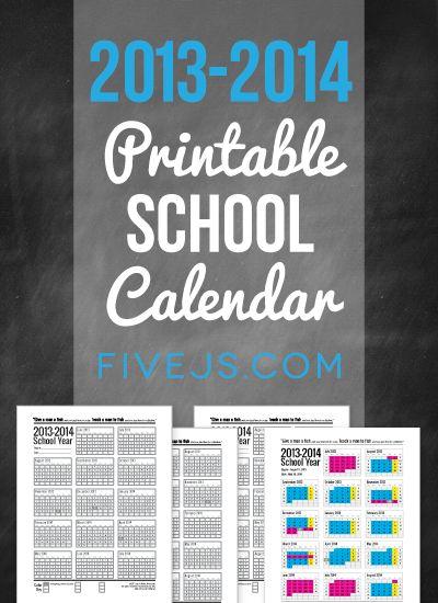 Free Printable 2013-2014 School Calendar from FiveJs.com. Great for homeschool planning.