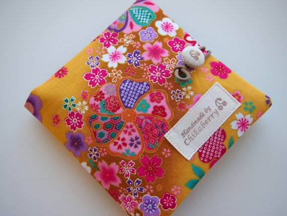 Sanitary Pouch  Kimono Pattern YELLOW  by Chikaberry on Etsy, $12.00