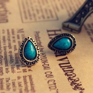 Korean women in Europe and America retro small jewelry trade turquoise blue crystal earrings free shipping