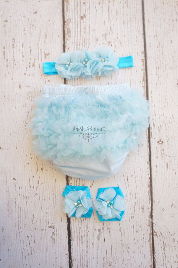Diaper cover set  Ruffle diaper cover  baby blue by PoshPeanutKids