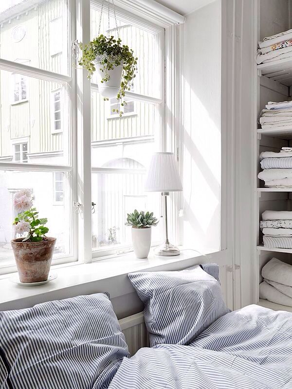 bed - radiator + window sill / wall cupboard + shelves