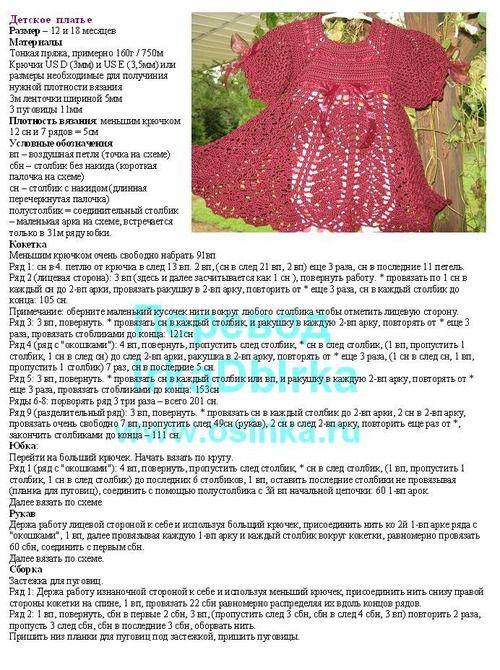 Вязаные детские платья Почти 30 схем вязания детского
