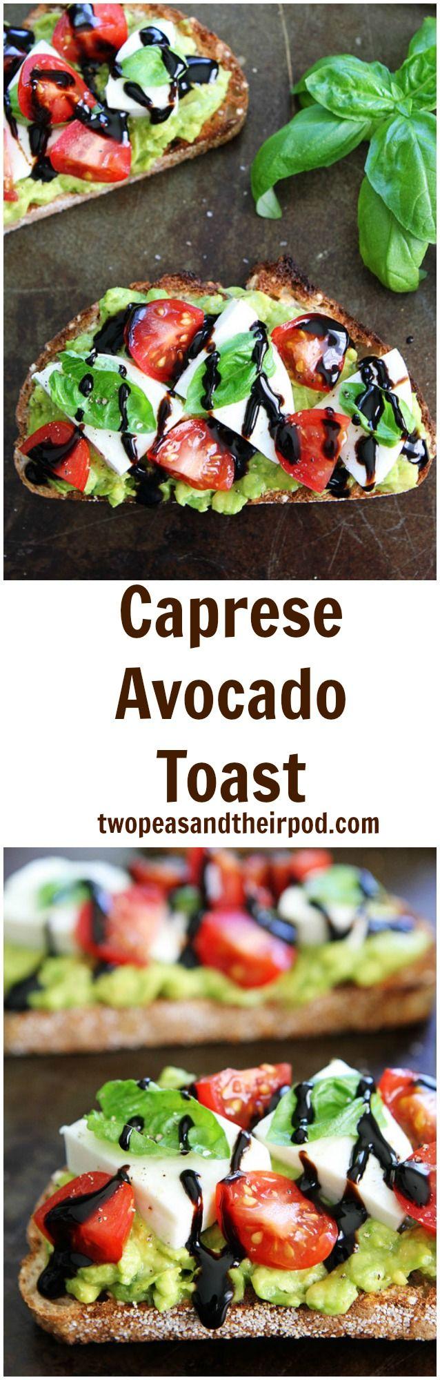 Caprese Avocado Toast Recipe on twopeasandtheirpod.com The BEST avocado toast and it's so easy to make!