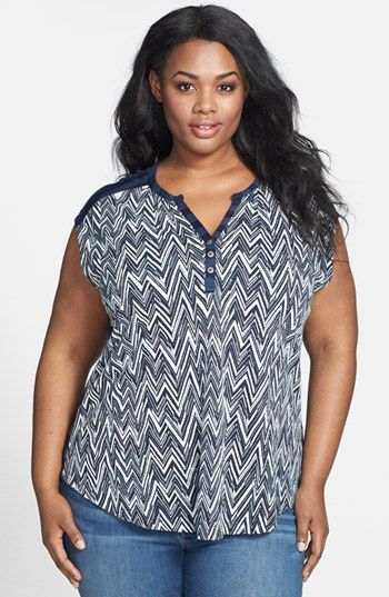 Lucky Brand Chevron Print Top (Plus Size) available at #Nordstrom