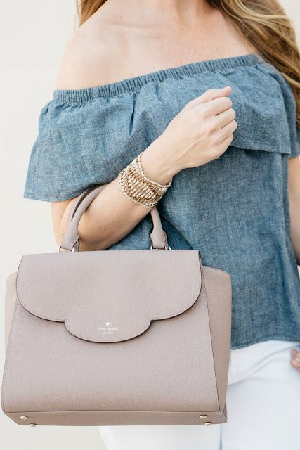 Chambray Off the Shoulder Top / Kate Spade Bag / Spring Style / Fashion / Outfit Ideas