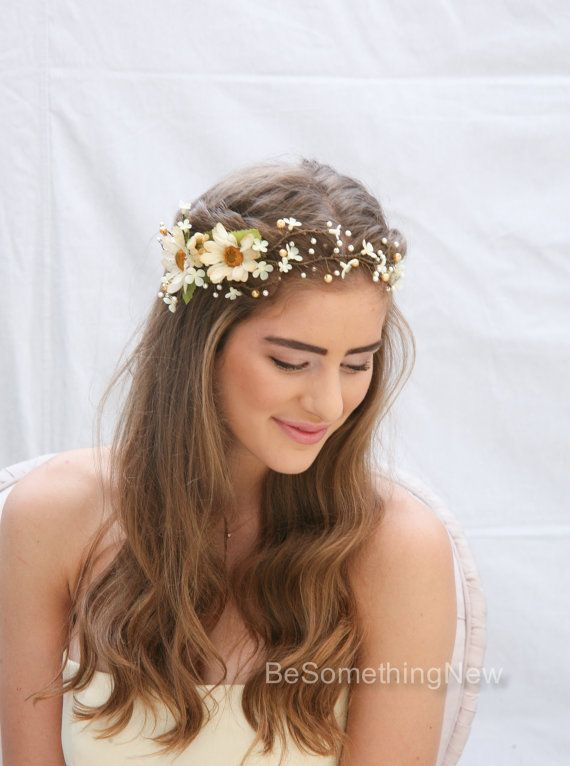 Rustic Floral Hair Vine of Ivory Daisies and Pearls, Beaded Woodland Wedding Hair Halo Flower Crown Boho Wedding Bridal Hair Wreath