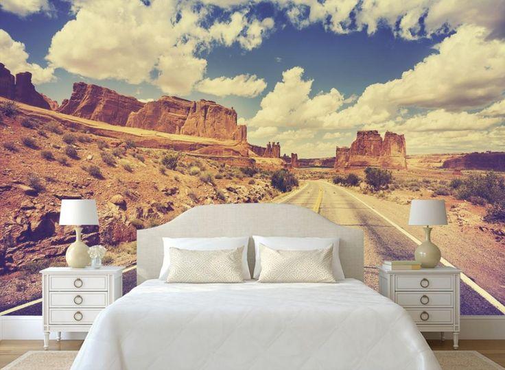 Custom 3d wallpaper Highway Gobi Desert Desert Mural TV Wall 3d nature wallpaper for bathroom nonwoven wallpaper #Affiliate