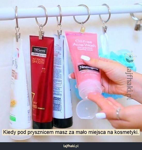 Łazienkowy trik na przechowywanie kosmetyków - Kiedy pod prysznicem masz za mało miejsca na kosmetyki.