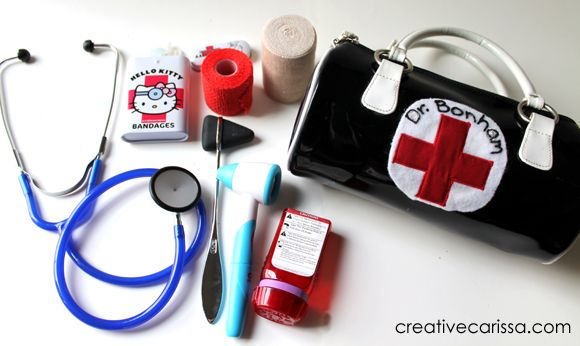 DIY Pretend Doctor Kit using real working items. Way better than spending $30 on toy doctor kits that don't do a thing. Also a great way to get little kids used to the scary doctor! :)