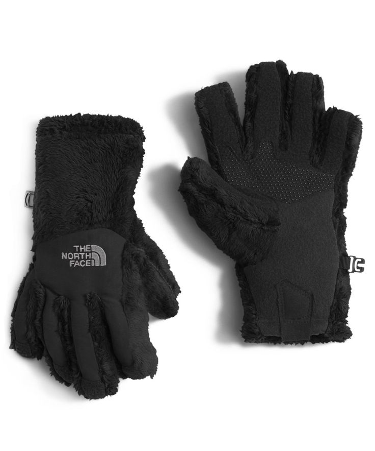 The North Face Denali Thermal Etip Glove Girls' TNF Black Large. 300-weight high-loft fleece glove with touchscreen compatibility. Nylon Taslan® over knuckles and fingers for added durability. UR® Powered fleece at palm for five-finger touchscreen capability. Girl-specific 5 Dimensional FitTM ensures consistent sizing. PU tab at cuff for easy on/off.