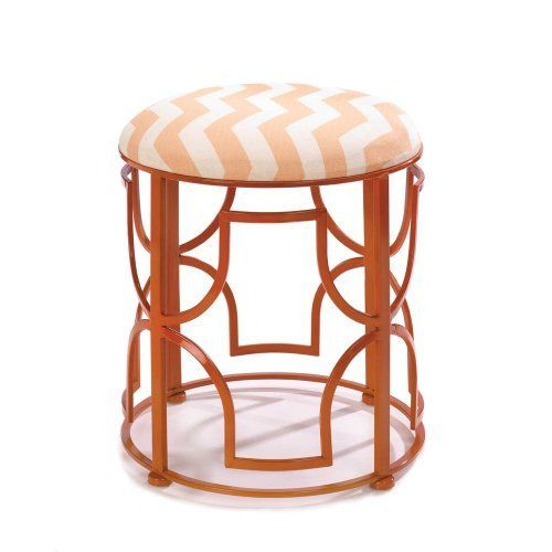 Chic Chevron Stool  Go bold! This dramatic stool is designed to add a dose of color and a splash of dynamic style to your room. The openwork iron frame features a fantastic design and glossy orange finish, and the chevron pattern padded seat is the perfect finishing touch.