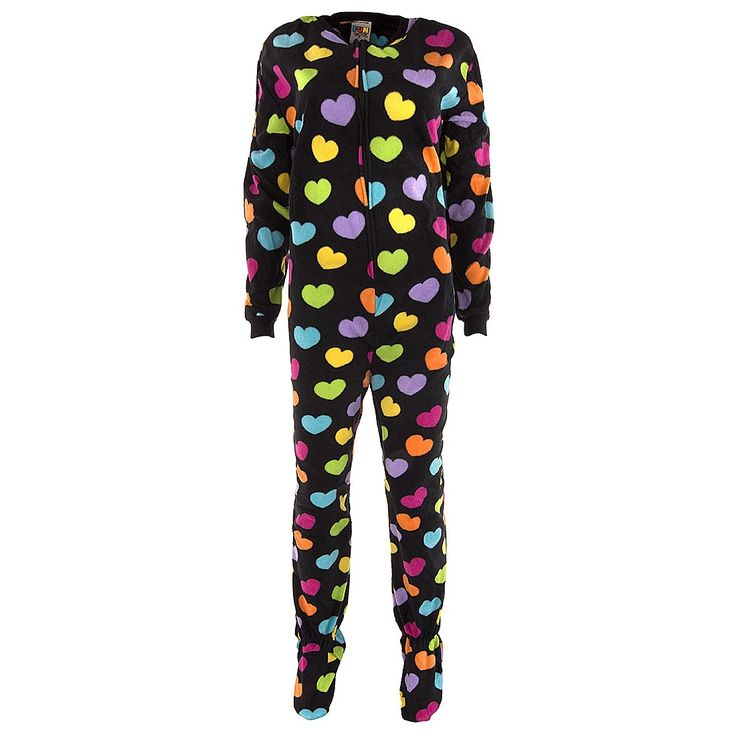Colorful Hearts Footed Pajamas for Women - Click to enlarge