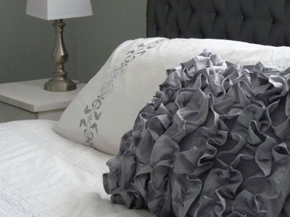 Ruffled pillow cover.  Custom colours and sizes available.