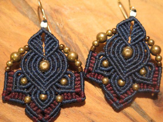 micro macrame earrings hoop earrings for por AdiVardiJewelry