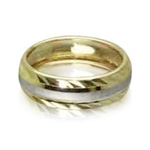 9ct Gold 2 Colour Patterned Ladies Wedding Ring 6mm