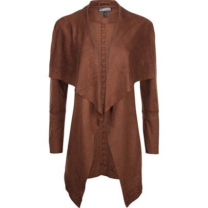 Ozsale - Long Sleeved Open Front Waterfall Jacket Cognac by Drei Master was $200 and is now $99.