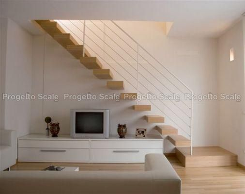 Scala a sbalzo gradini in legno ringhiera inox 15 scale - Scale rivestite in legno per interni ...