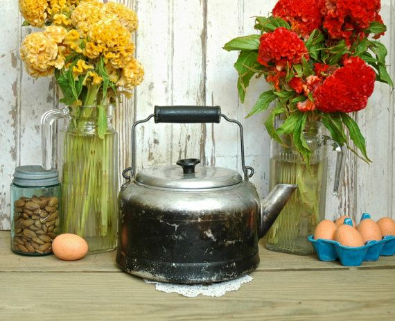 Vintage Large Aluminum Camping Kettle Farmhouse Teapot Tea pot Camp Pot by TheUrbanBarn original Vintage kitchen décor mid century etsy shops antique colorful unique one of a kind 50s 60s 70s cute gift for her for him rusty rustic primitive barn farm country home farmhouse weddings wedding decoration