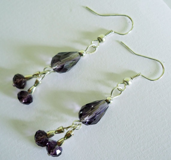 Earrings Purple swarovski crystal dangle earrings by Shabyas, $7.88
