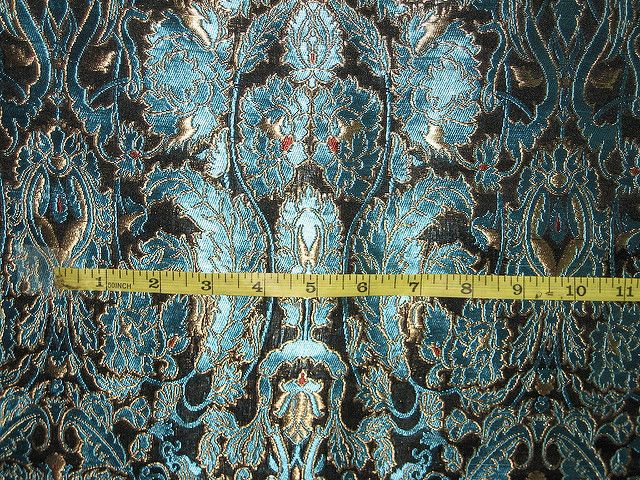 Heavy Brocade Fabric Metalic Gold,Red & Blue