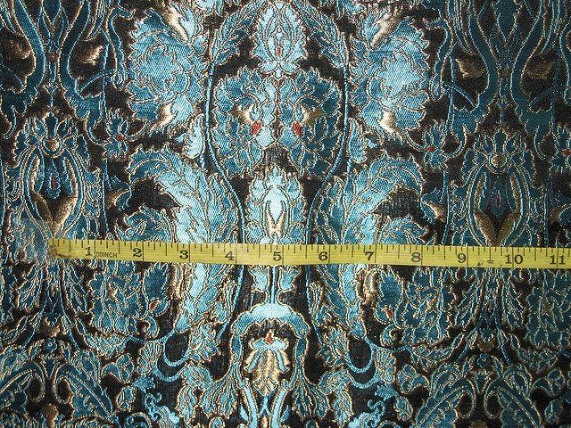 Heavy Brocade Fabric Metalic Gold,Red & Blue