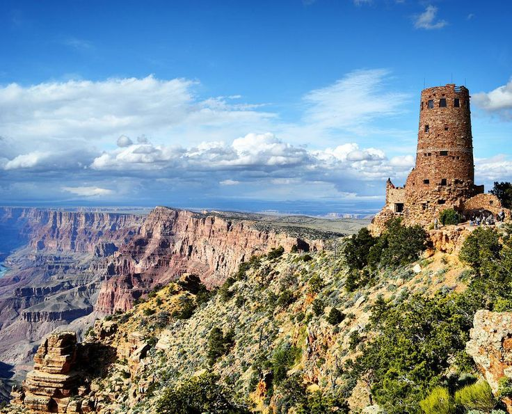 Enjoying the beautiful view of the Watchtower  Grand Canyon and Colorado river from Desert View Point