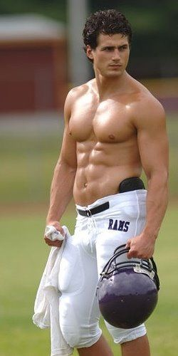 Hot Muscle Football Jock Shirtless With 6 Pack Abs In Gear