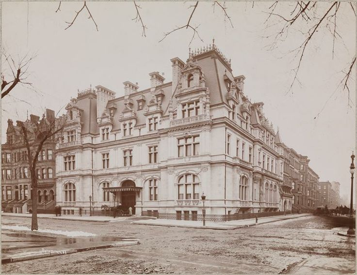 The John Jacob Astor IV & his mother Caroline Schermerhorn Astor residence designed by Richard Morris Hunt c. 1896 at 840 Fifth Avenue & East 65th Street in New York City.  The Astors moved into this house after demolishing their brownstone at 34th Street & Fifth Avenue to build the Astoria portion of the Waldorf-Astoria Hotel.