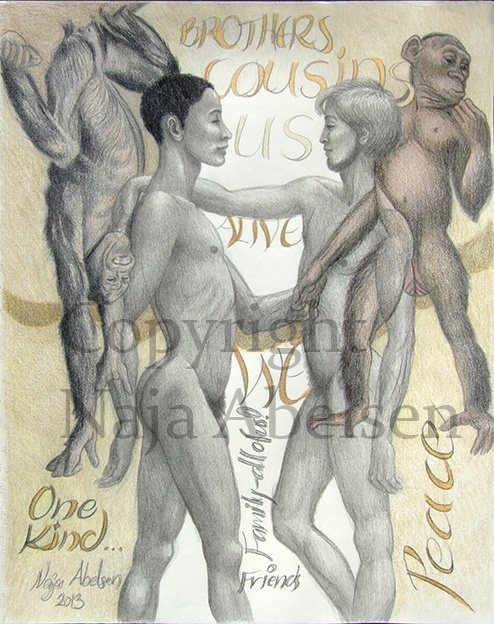 """One Kind."" By Naja Abelsen, www.najaabelsen.dk. Text on the art is:  Brothers /Cousins /US /WE /Alive/ Friends /Family - all of us/ Peace/ One Kind.  Pencil and colourpencil, 28 x 36 cm, 2013.  Price 2.400 Euro/18.000 DKK. Available as A3-photoprint 400 DKK / 54 Euro."
