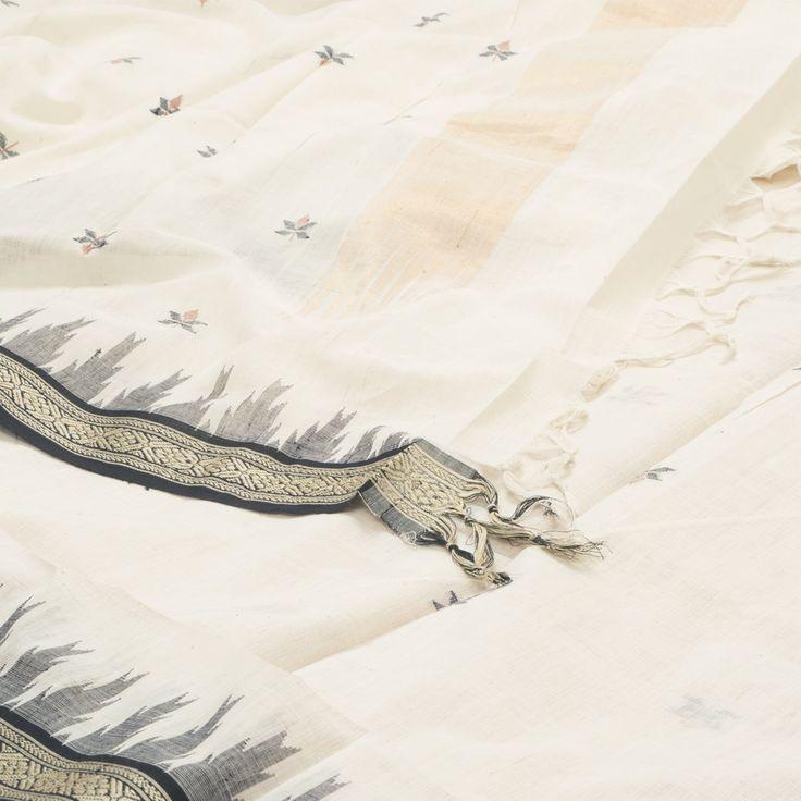 Ghanshyam Sarode Handwoven Jamdani Khadi Cotton Sari 1005403 - Sari / All Saris…