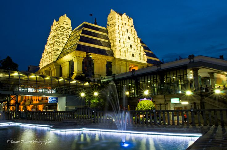 ISKCON Bangalore temple in the evening
