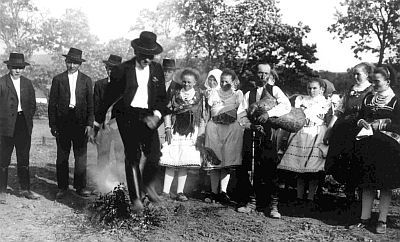 Buják, Nógrád County, Hungary, 1933. Photo by Gönyey Sándor, 1933. Fire-jumping is a pagan tradition that is practiced during the Summer Solstice throughout Europe. Each country has it's own name for it (Russia/Slavic Countries=Kupala, Hungary=Szentivánéj, Sweden=Johandag, Finnland=Juhannusaatto, etc.)