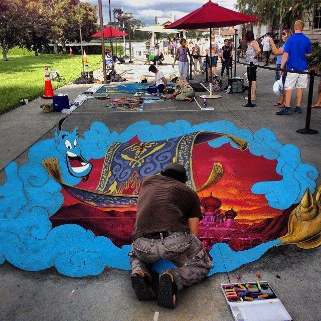 3D chalk art downtown disney