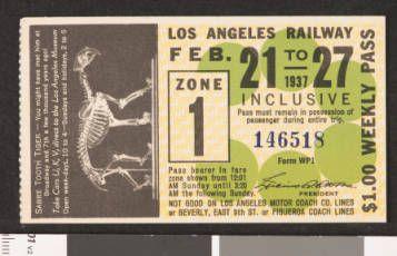 Los Angeles Railway weekly pass, 1937-02-21 :: LA as Subject